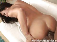 Gorgeous lisa ann strip teases for her ebony bf
