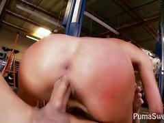 Big tit puma fucks mechanic to pay her bill!