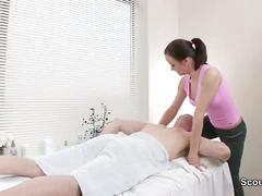 Masseuse persuaded german customers to fuck her in the parlor
