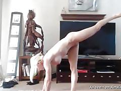 Blonde big titted yoga student doing her homework