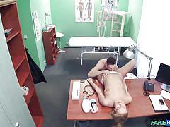 Careful nurse looks after her patient