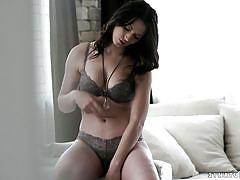 babe, busty, lingerie, pussy licking, fingering, brunette, european, sofa, erotica x, sarah highlight
