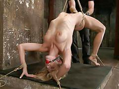 Fragile blonde tied hard and punished