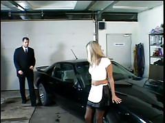 Husband fucks the maid on his car