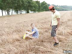 Gays fucks in the middle of the field