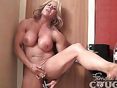 fetish, kink, kinky, female-muscle, masturbation, vibrator, sex-toy, big-clit, biceps, abs, blonde, big-tits