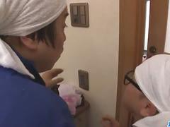 Japanese milf sucks two dicks
