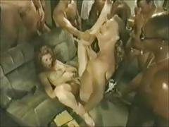 Super gangbang - one blonde woman for multiple guys