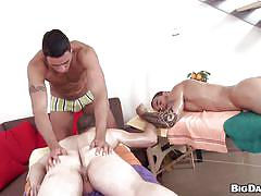 Gay couples massage turns into threesome
