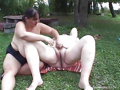 Big beautiful women playing outdoors