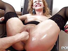 milf, fisting, blonde, rough sex, stockings, blowjob, dildo, moaning, anal insertion, mouth fingering, filthy and fisting