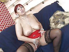 mature, redhead, solo, masturbation, stockings, busty, dildo, couch, big naturals, bbw, mature nl, darina b.