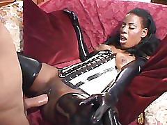 Black lady enjoy big white gardener dick