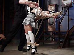 high heels, punishment, domination, vibrator, tied up, sex slave, asian babe, device bondage, rope bondage, hogtied, kink, mia li