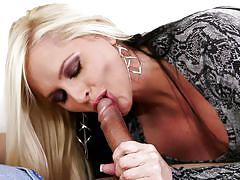Blonde mom gives a great blowjob