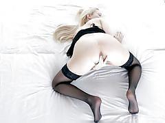 Beautiful blonde girl wearing sexy lingerie