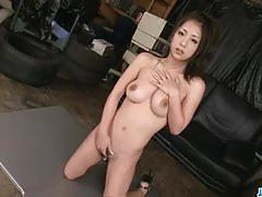 brunette, asian, tits, busty, cum, pussy, masturbation, japanese, amateur, cock sucking, lubricant, hairy pussy, cum shot, cum on tits