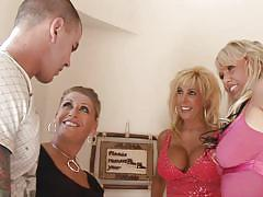 Blonde cougars attack a hard cock