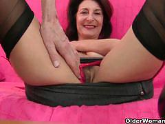 Sexy grandmoms enjoys masturbating in solo.