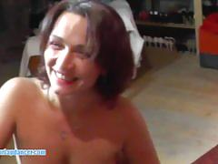 Czech milf with bigtits strips and rides big cock.