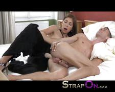 Strapon super hot dominant babe pegging fella after...