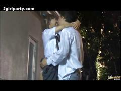 Japanese schoolgirl sex outdoors