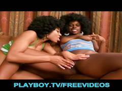Adorable ebony babes have a threesome