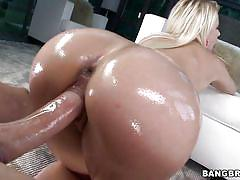 blowjob, ass fingering, oiled, bubble butt, from behind, pov, blonde babe, pawg, bangbros network, anikka albrite