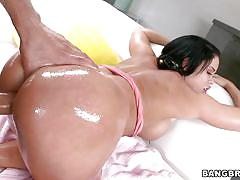 milf, blowjob, oiled, bubble butt, brunette, from behind, pov, hispanic, pawg, bangbros network, nikki delano