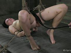 milf, bdsm, whipping, tied up, black hair, shaved pussy, ropes, lash, clamps, executor, hard tied, veruca james