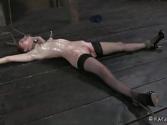milf, bdsm, stockings, oiled, vibrator, brunette, tit torture, ropes, executor, suckers, hard tied, calico lane