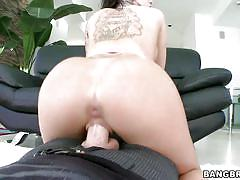 tattoo, babe, rimjob, brunette, big booty, from behind, reverse cowgirl, pov, pawg, bangbros network, christy mack