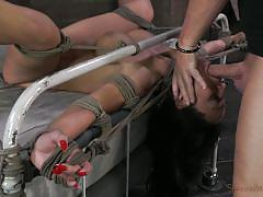 Tied on the bedframe and fucked hard