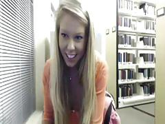 Webcam! crazy girl shows off at the library