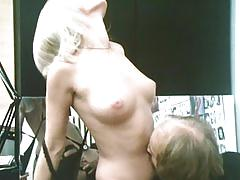 classic, vintage, retro, babe, young, natural-tits, blowjob, trimmed, pussy-licking, lingerie, blonde, threesome, ffm