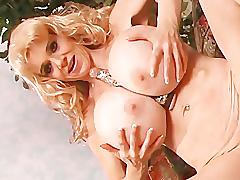 pornhub.com, blonde, mom, cougar, skinny, fishnet, lingerie, huge-breast, fake-tits, strip, shaved, solo, masturbate, toy, vibrator