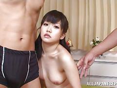 milf, threesome, handjob, asian, blowjob, brunette, from behind, censored, nipple squeezing, 18 tokyo, all japanese pass, kurumi tachibana