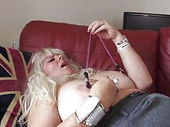 This mature blonde slut is a freak
