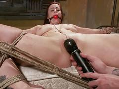 Bdsm ginger dildo and finger experience during her session