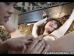 Japanese mistress fingering and eating her slave