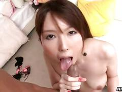 Asian sucks dick and gets titty fucked
