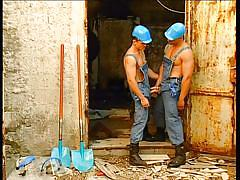 Gay construction workers suck each other off