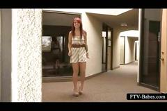 Outdoor stripping and masturbation for teen redhead
