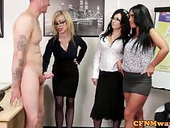 blowjob, glasses, handjob, european, euro, foursome, jerking, mistress, voyeur, cfnm, humiliation, femdom