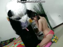 Teddy bear girl forced to suck dick