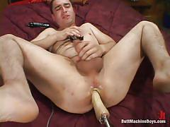 solo, fucking machine, anal insertion, jerking off, lube, gay, butt machine boys, kink men, craig