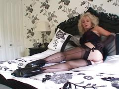 Stocking milf gets horny