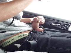 German young boy mastrubates in car on the street with cumshot