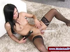 Big taco babe playing with pump and toy