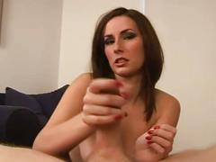 Mean brunette dirty talks and tugs cock